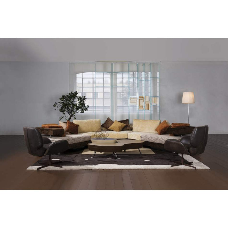 Head on view of luxury brown semicircular sofa made by ll loft in Italy