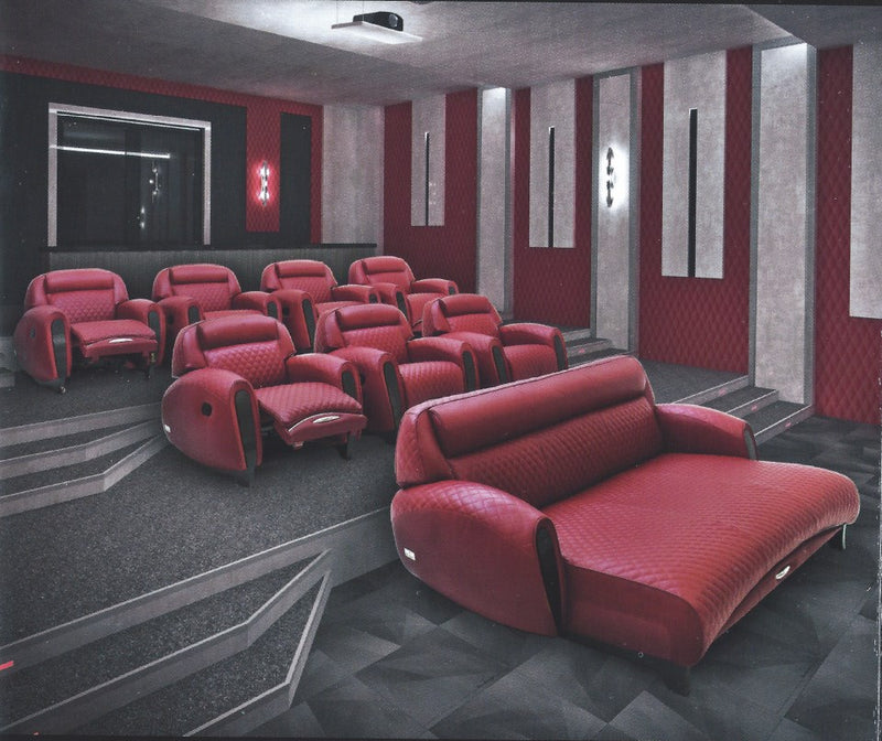 Cinema room full of maroon colored Italian Cinema Recliners