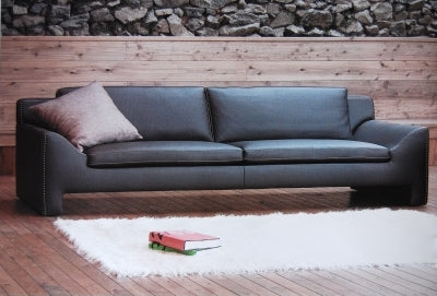 black leather Italian sofa
