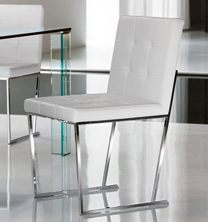 modern italian dining chair with leather cushion and metal base