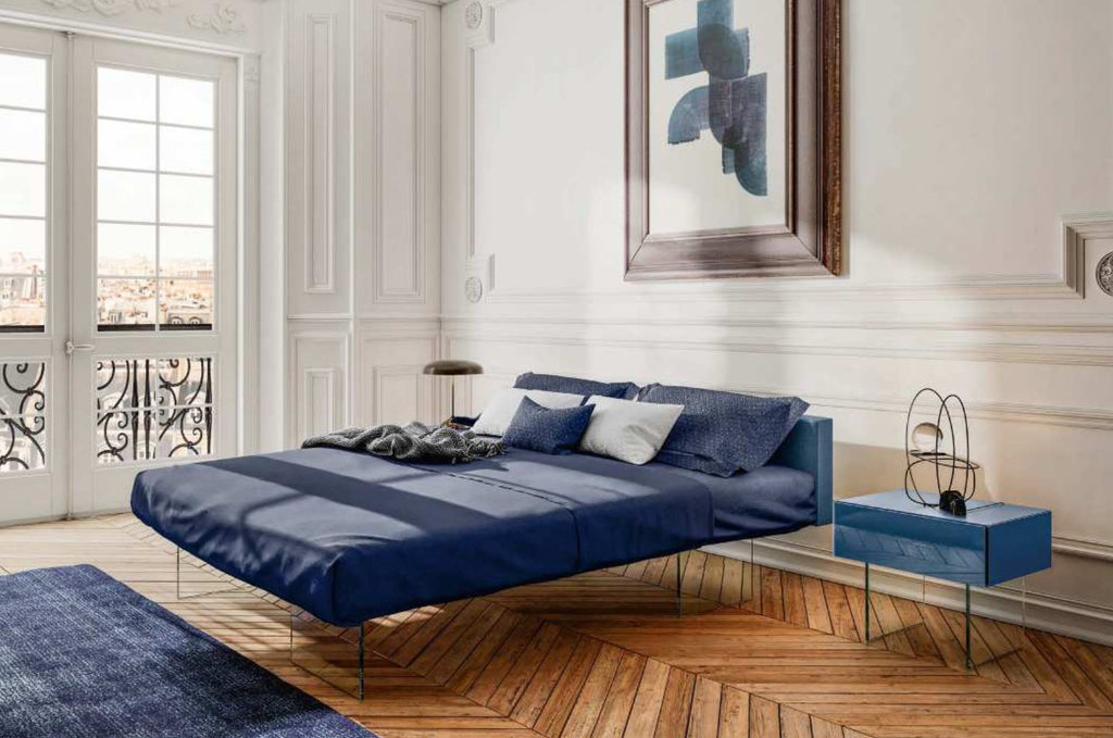 Italian bedroom with floating air bed made by Lago