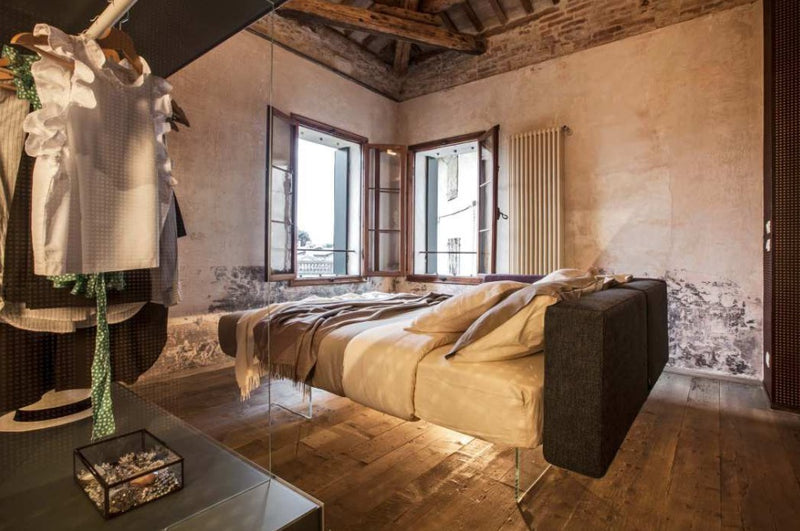 Contemporary Italian bedroom with floating air bed