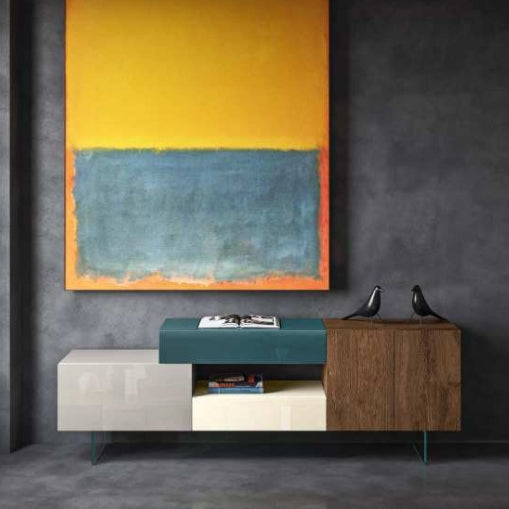 36e8 Sideboard 11002 Mood 1 Wildwood, Scuro, Ottanio, Tortora & Cocco Polished Glass - Modern Furniture | Contemporary Furniture - italydesign