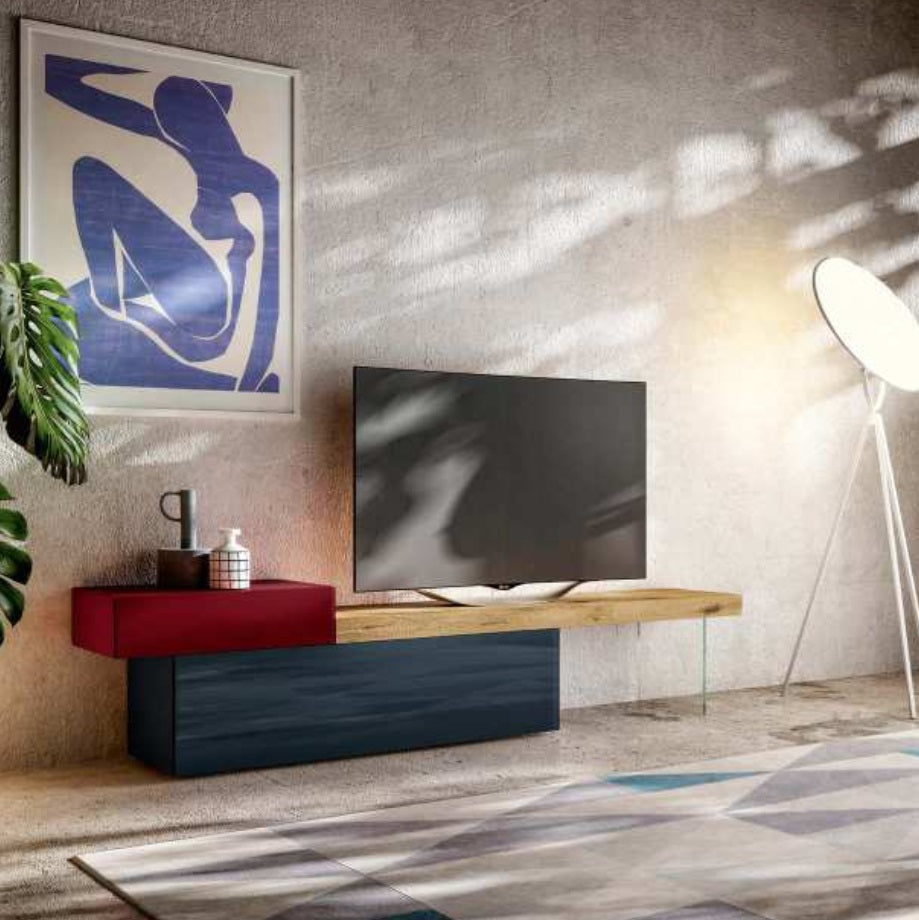 36e8 TV Unit 0512 Mood 3 Wildwood Scuro with Rosso & Scuro Polished Glass - Lago media   TV unit imported by Itallydesign