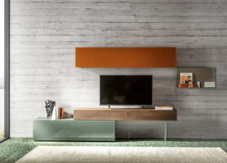 36e8 TV Unit Wildwood Scuro & Ferro Polished Glass - 36e8  tv unit by Lago made in Italy