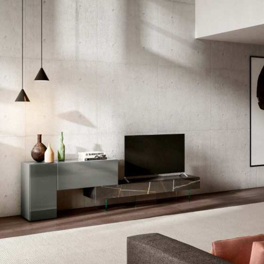Italian  TV units  by Lago - 36e8 TV Unit 0707 Ferro Polished Glass & Saharo Noir Matte XGlass - Modern Furniture | Contemporary Furniture - italydesign
