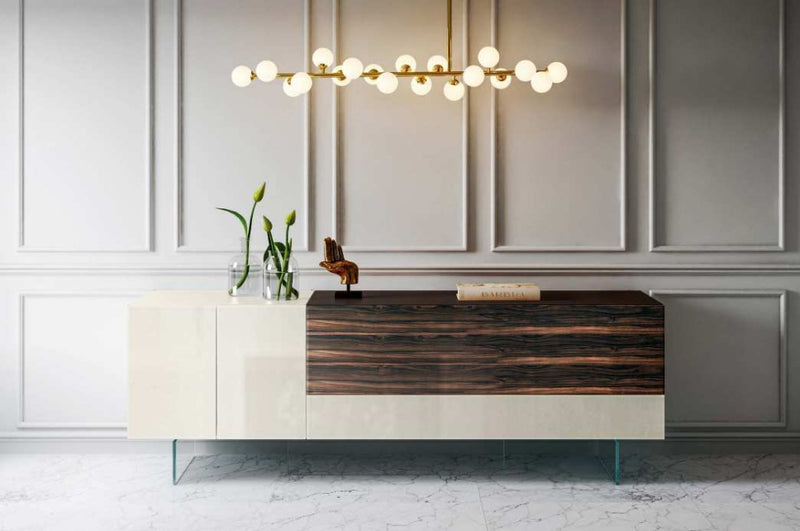 36e8 X Glass Sideboard 0841 Panna Polished GLass & Ebano Polished X Glass - Modern Furniture | Contemporary Furniture - italydesign