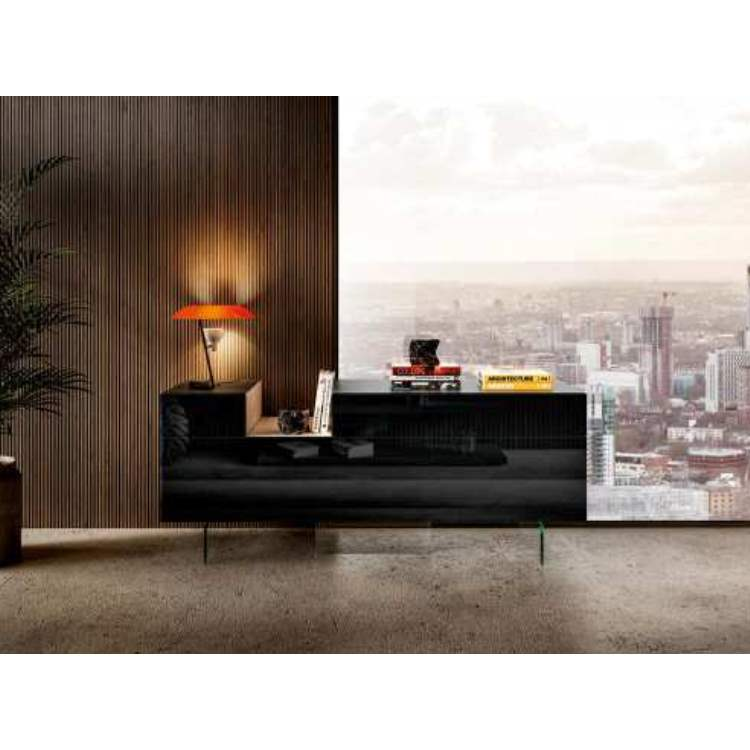 36e8 Sideboard 0245 Nero Polished Glass