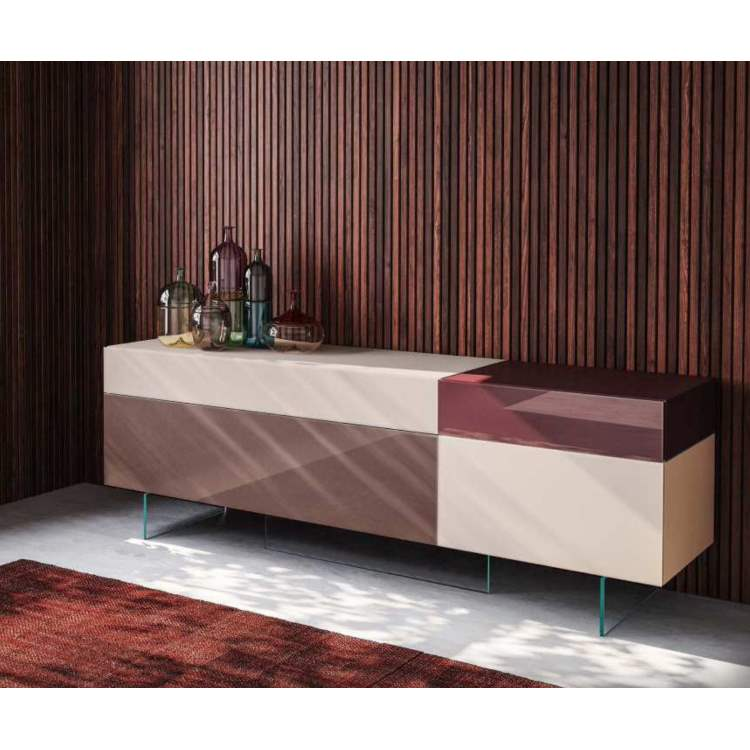 36e8 Sideboard 0247 Mood 3 Cipria & Iuta Matte Glass Mattone & Amaranto Polished Glass