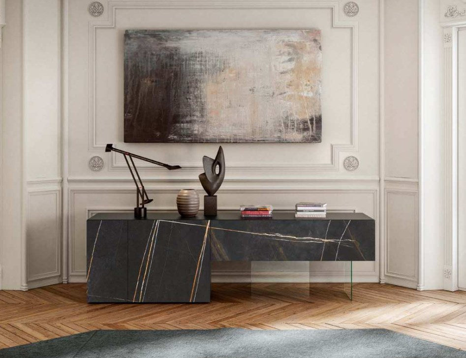36e8 XGlass Sideboard 0701 Sahara Noir Matte XGlass - 36e8 X glass sideboard by Lago made in Italy