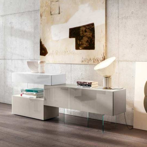 36e8 Sideboard 09966 Mood 1 Bianco, Tortora & Mandorla Polished Glass - Sideboard  buffet  architecturally designed by Lago