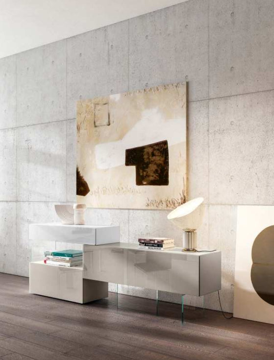 36e8 Sideboard 09966 Mood 1 Bianco, Tortora & Mandorla Polished Glass - Modern Furniture | Contemporary Furniture - italydesign