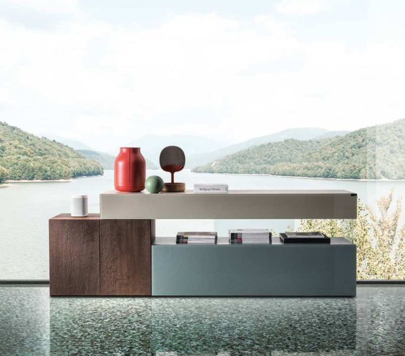 High end modern furniture by Lago  - 36e8 Sideboard 10813 Mood 1 Wildwood, Spago & Argilla Polished Glass - Modern Furniture | Contemporary Furniture - italydesign