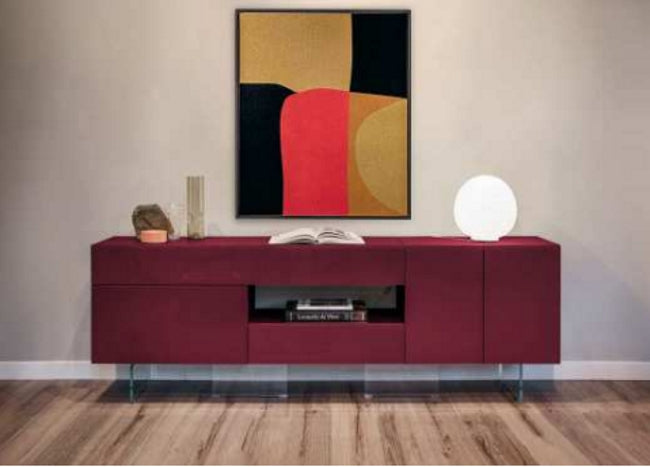 36e8 Sideboard 11008 Amaranto Polished Glass - Modern colored glass buffet with sculptural design by Lago made in Italy