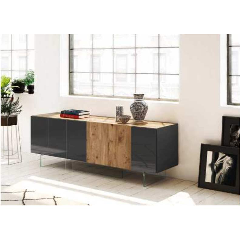 36e8 Sideboard 13607 Ferro Polished Glass and Wildwood Naturale