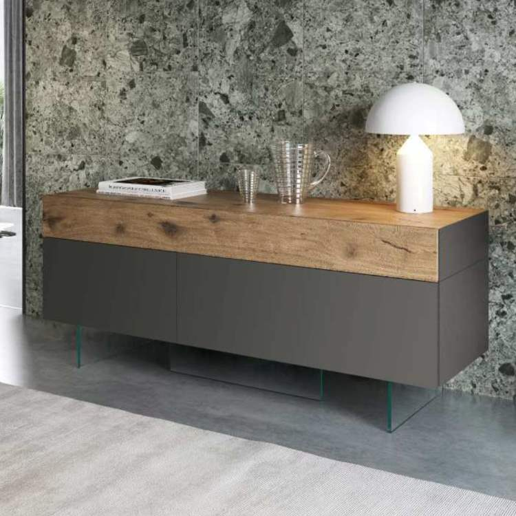 36e8 Sideboard 16003 Wildwood Naturale & Lacquered Grafite