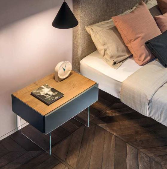 Air 36e8 Bedside Table 0764 Grafite Polished Glass -Modern  glass and wood nightstands by Lago made in Italy