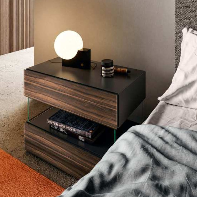 Air 36e8 Bedside Table 0774 - Ebano Polished XGlass - Modern Furniture | Contemporary Furniture - italydesign