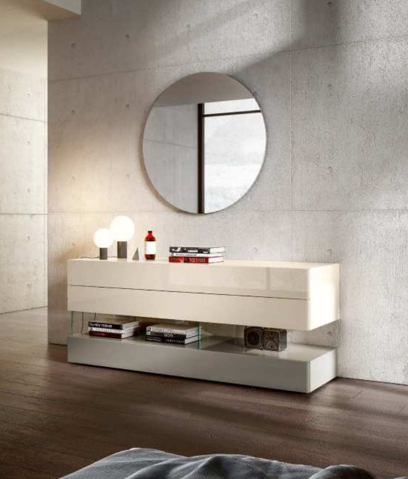 Air 36e8 Dresser 0675 - Spago & Fango Polished Glass - Modern bedroom dresser by Lago made in Italy