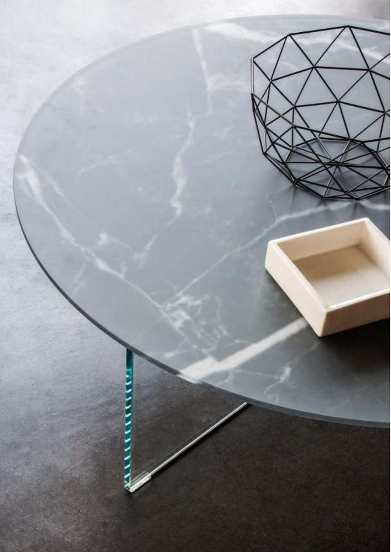 Air Round Coffee Table - Sahara Noir Matte Glass, Bianco Polished Glass & Wildwood Naturale - Modern Furniture | Contemporary Furniture - italydesign