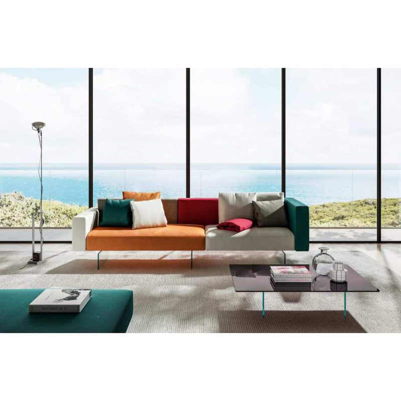 Modern modular sofa  with  glass legs by Lago made in Italy