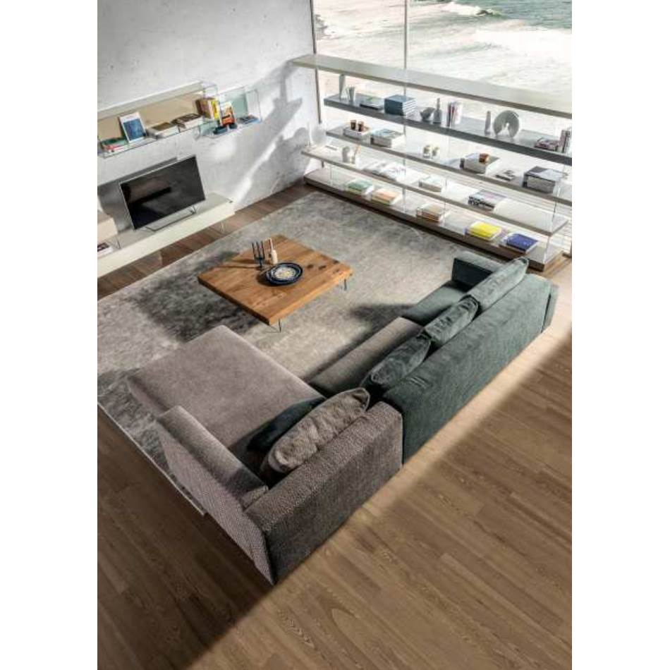 Modern Sectional sofa with glass legs by Lago and made in Italy