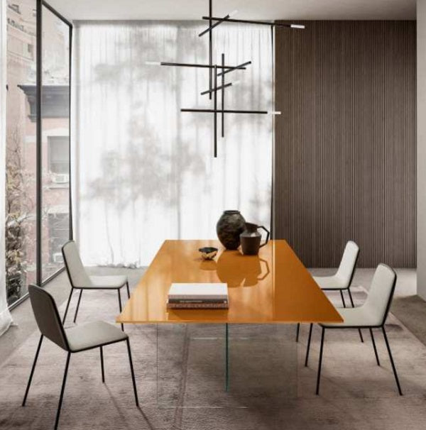 Air Table Ruggine Polished Glass - Modern  dining  table with  glass top by Lago made in  Italy