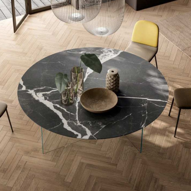 Air XGlass Round Table Clacatta Black Matte XGlass - Modern Furniture | Contemporary Furniture - italydesign