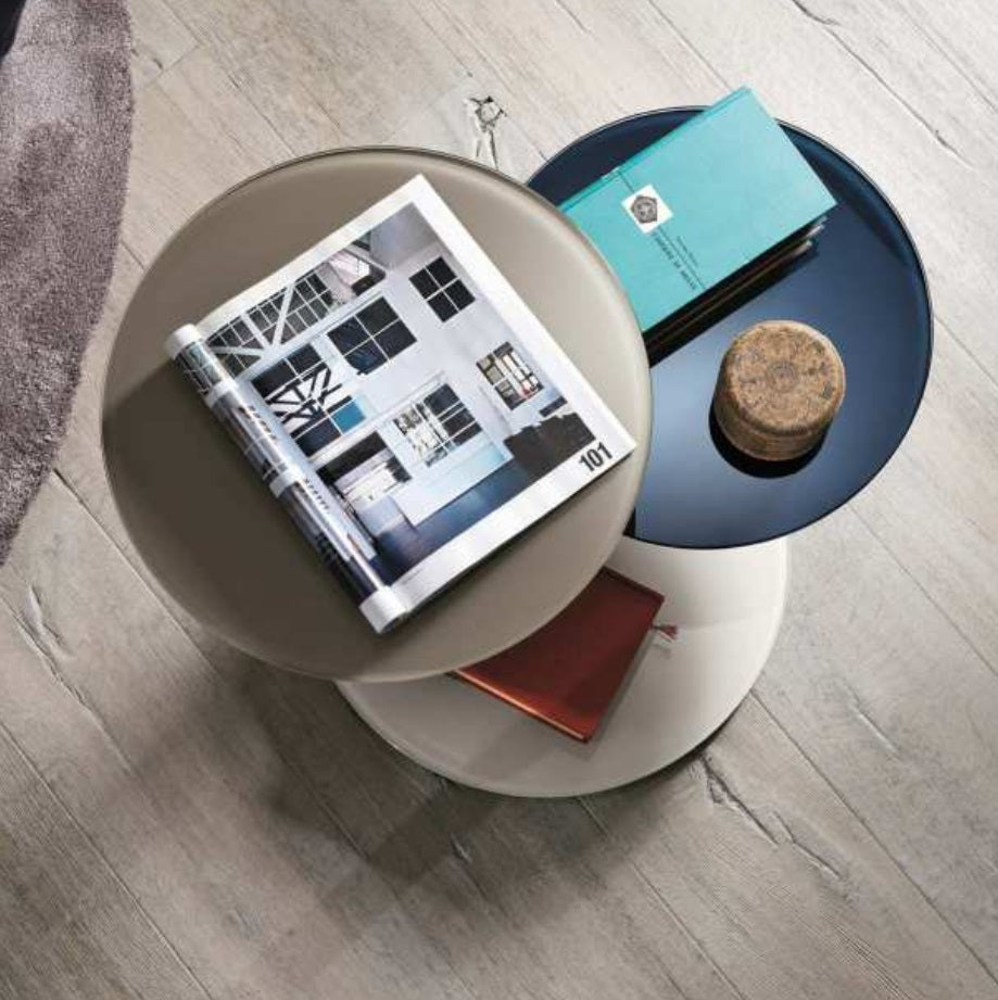 Coletto Coffee Table - Bianco, Blu Scuro & Spago Polished Glass - Modern coffee table with  colored glass tops by Lago made in Italy