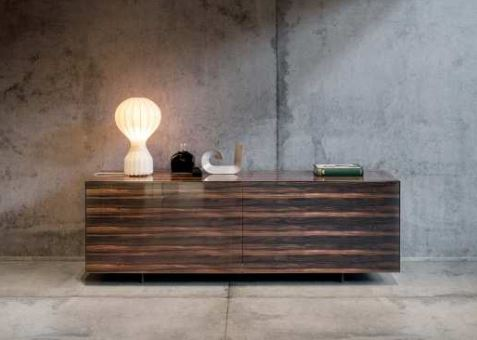 Sideboard  buffet with  polshsed  X glass by Lago and made in Italy