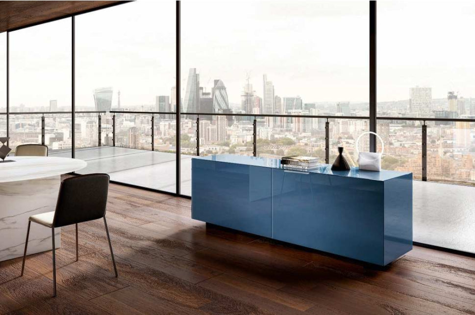 Plenum Sideboard 0832 Denim Polished Glass