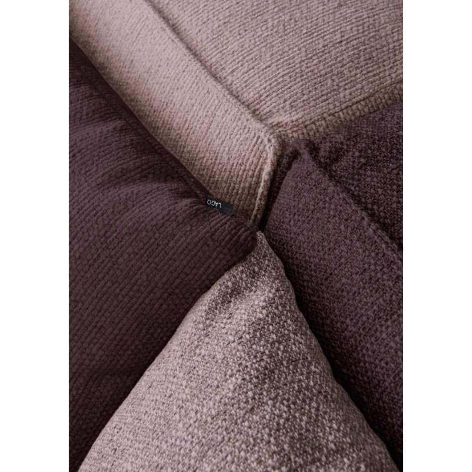 Close view of purple Italian sectional sofa by Lago