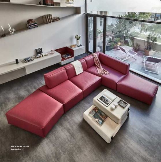 Slide Sofa 0826 Eco Leather 27 - Modern Angular sofa by Lago made in Italy