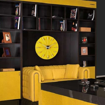 Yellow Lamborghini Wall Clock in a yellow in black living room.