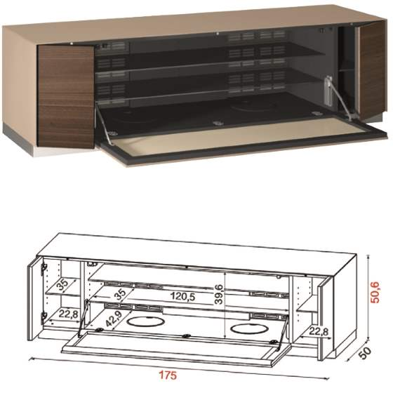 Opened Flat TV Stand QZ-F with design specs