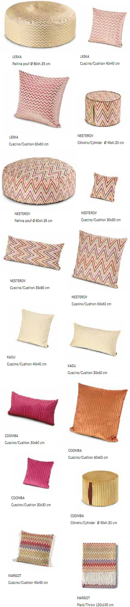 Missoni Cushion and Footstool Collection - Golden Age Soft - italydesign.com