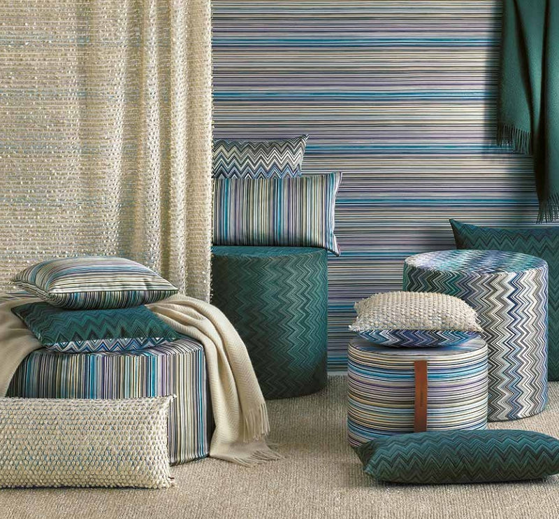 Missoni Cushion and Footstool Collection with vibrant color patters in fabric