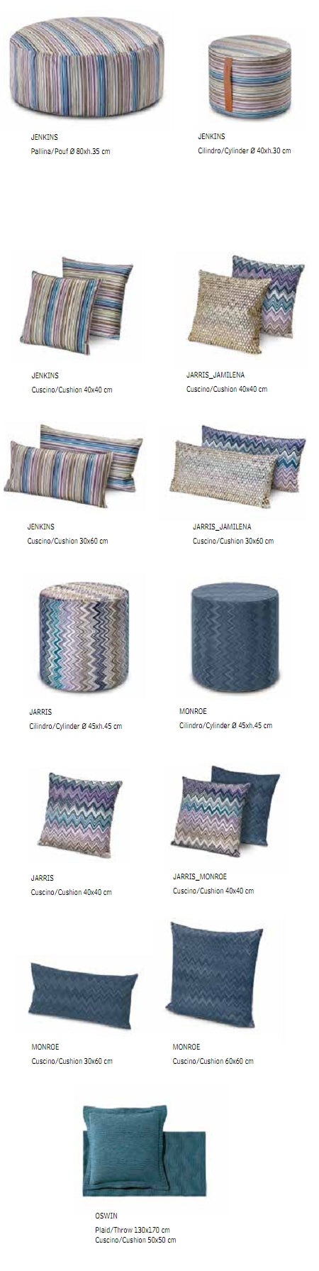 Missoni Cushion and Footstool Collection product specs