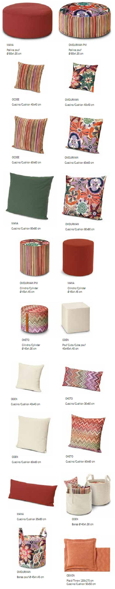 Missoni Cushion and Footstool Collection - Master Classic Trevira 156 - italydesign.com