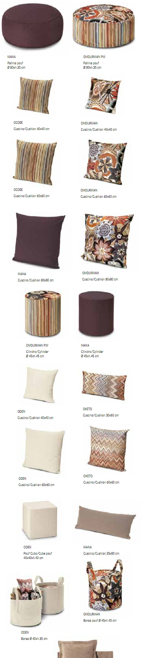 Missoni Cushion and Footstool Collection - Master Classic Trevira 160 - italydesign.com