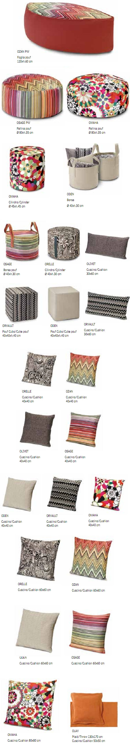 Missoni Cushion and Footstool Collection - Master Moderno Trevira 156 - italydesign.com
