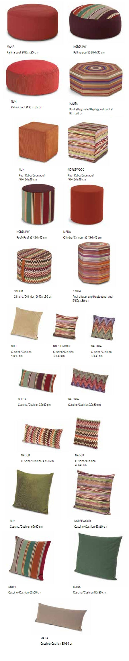Missoni Cushion and Footstool Collection - Ombrellini Fiammati - italydesign.com