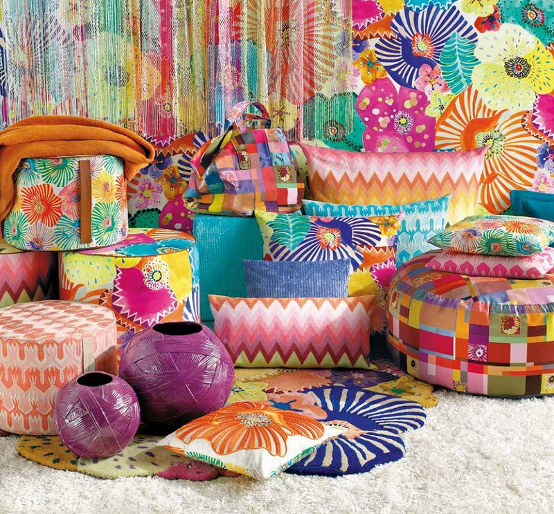 Vibrantly colored Missoni Cushion and Footstool Collection - Papavero Patch -