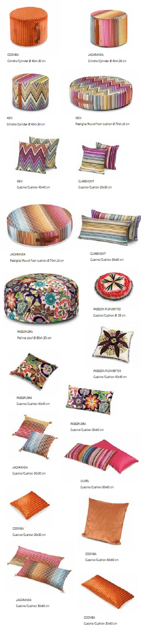 Missoni Cushion and Footstool Collection - Passiflora T59 - product list sheet
