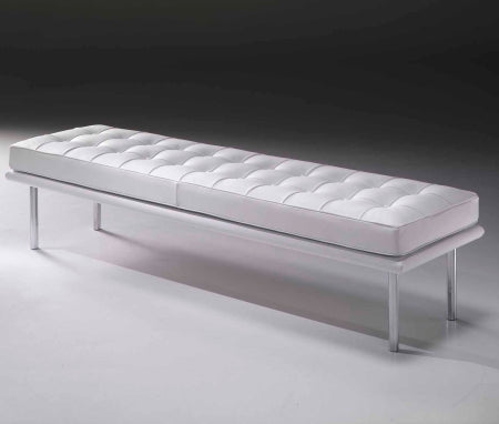 WhiteLeather Bench inspired by Mies Van Der  Rohe made in Italy for Italydesign