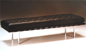 Brown Leather Bench inspired by Mies Van Der  Rohe made in Italy for Italydesign
