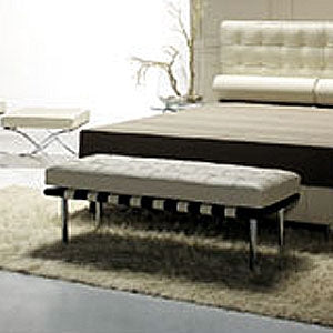 Cream Leather Bench inspired by Mies Van Der  Rohe made in Italy for Italydesign