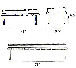 Dimensions of Leather Bench inspired by Mies Van Der  Rohe made in Italy for Italydesign