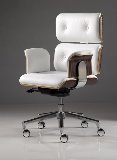 Modern Classic Office Chair - Modern office chair with wood and leather made in Italy for  Italydesign