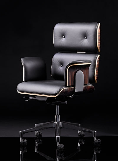 Modern Classic Office Chair in black leather